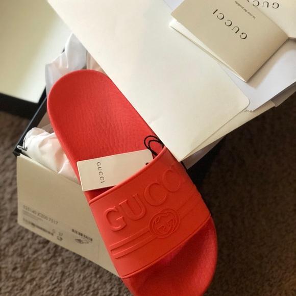 0f0e42c2b Gucci Shoes | Logo Rubber Slide Sandal | Poshmark